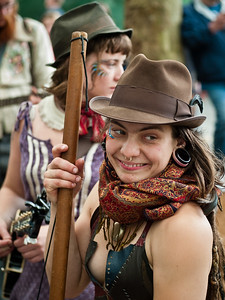 Musician, gypsy bluegrass bass player, at the Folk Life Festival, Seattle, Washington, 2011.