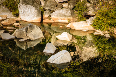 Rocks reflected in the Yuba River at the Hwy 49 Bridge