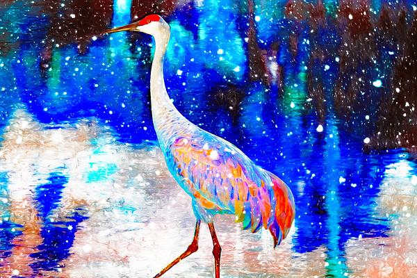 Crane in Snow