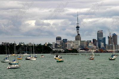 2370-Boats along the shore of Auckland, New Zealand (Sky Tower in the back) (8x12)