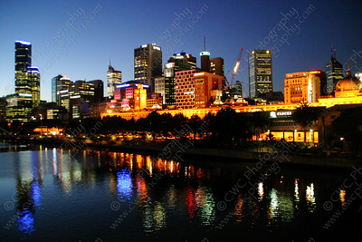 2010-The Yarra River and the Melbourne skyline at dusk in Australia (8x12)