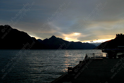 2330-By the mountains and lake at Queenstown, New Zealand at dusk (8x12)