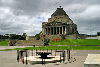 2170-Shrine of Remembrance and the eternal flame in Melbourne, Australia (8x12)