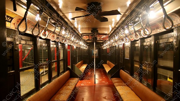 4130-A vintage subway car in the NYC Transit Museum in Brooklyn