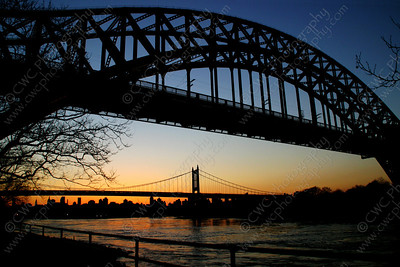 3040-Bridge silhouettes over the East River in New York City (8x12)