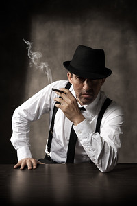 Fine art character portrait of actor Rafael Siegel as a noir detective, created by Denver photographer Jason Sinn.