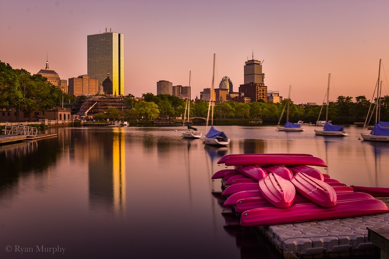 Pink Boats on the Charles River, Boston.