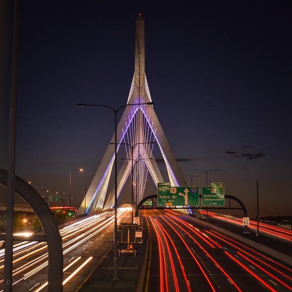 Zakim Bridge Light Trails.