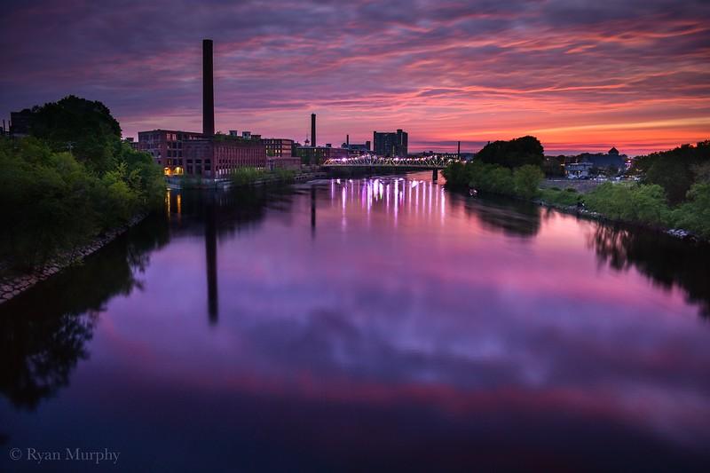 Lowell, Massachusetts at Sunset.