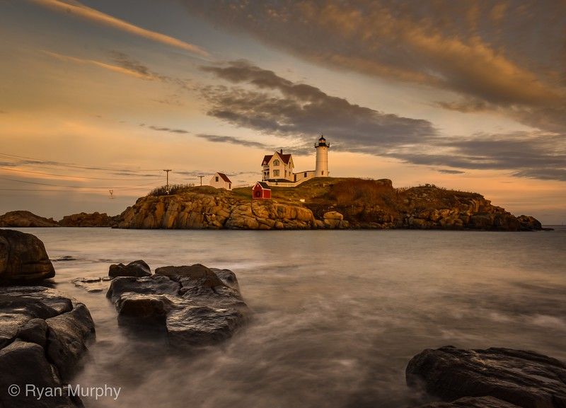 Nubble Lighthouse at Sunset.