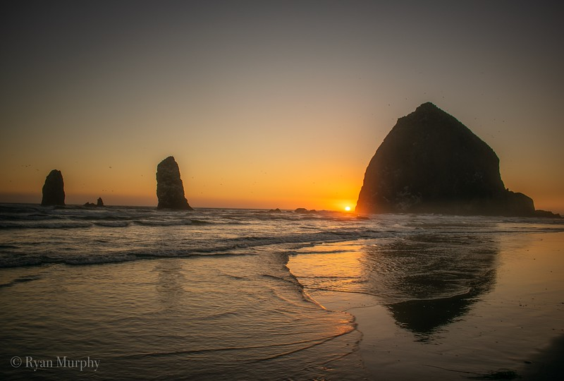 Summer Sunset at Cannon Beach, Oregon.
