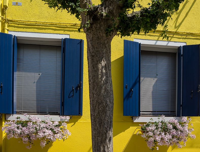 The Yellow House with Blue Shutters. Burano.