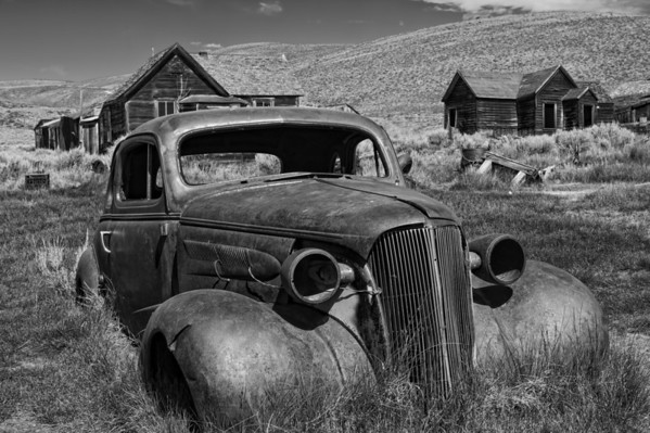Abandoned Car BW - Bodie Ghost Town - California