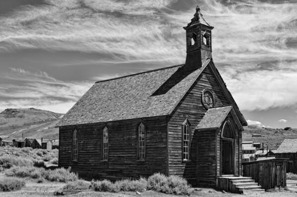 Church BW - Bodie Ghost Town - California