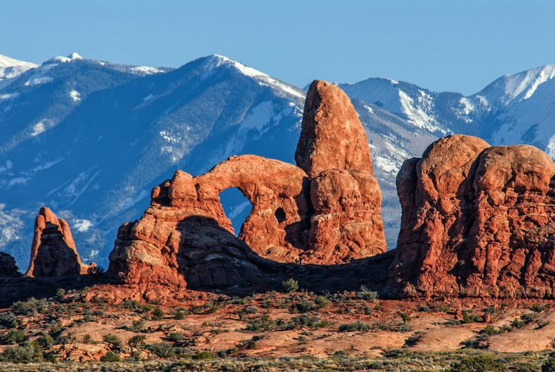 Turret Arch With LaSal Mountains in Background - Arches National Park - Utah
