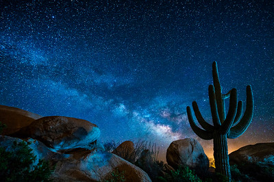 Colorful Boulder under the Colorful Milky Way, Florence, AZ