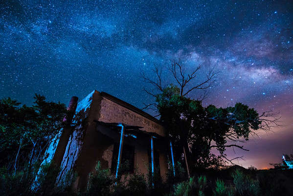 Store in the Desert against full Milky Way, Arizona