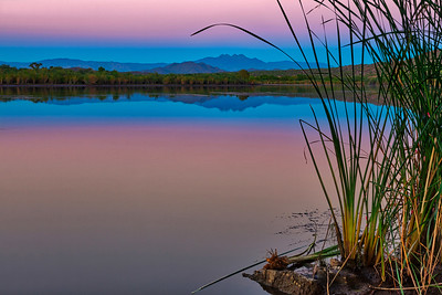 Glass river with perfect mountain reflection. AZ