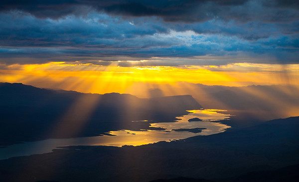 Sunset from the Clouds, Roosevelt Lake, Arizona Aerial