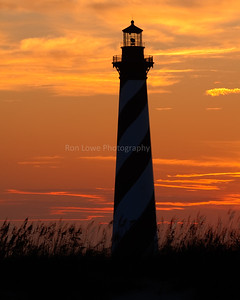 Cape Hatteras Lighthouse after sun has set