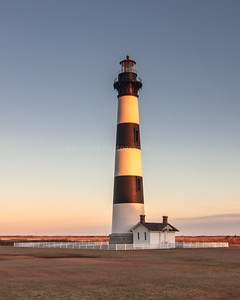 Bodie Island Lighthouse as sun is setting