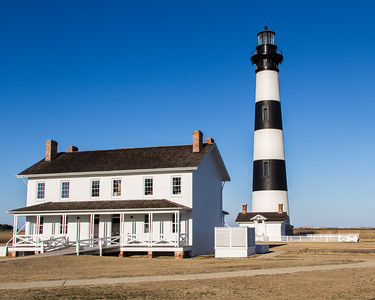 Bodie Island Lighthouse and light keeper house