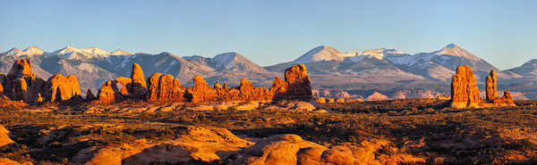 Sunset on Windows Section with La Sal Mountains in Background -  Arches National Park - Utah