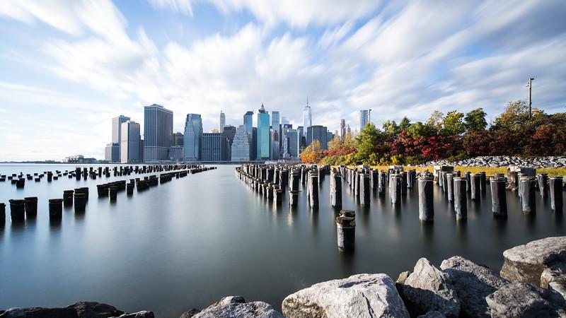 Lower Manhattan from Brooklyn Bridge park