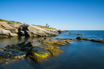 Rocky coastline of Beavertail Lighthouse