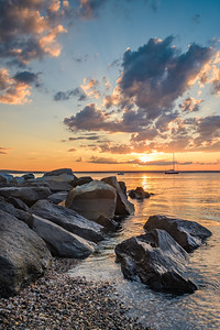 Sunset over a jetty in Jamestown, Rhode Island