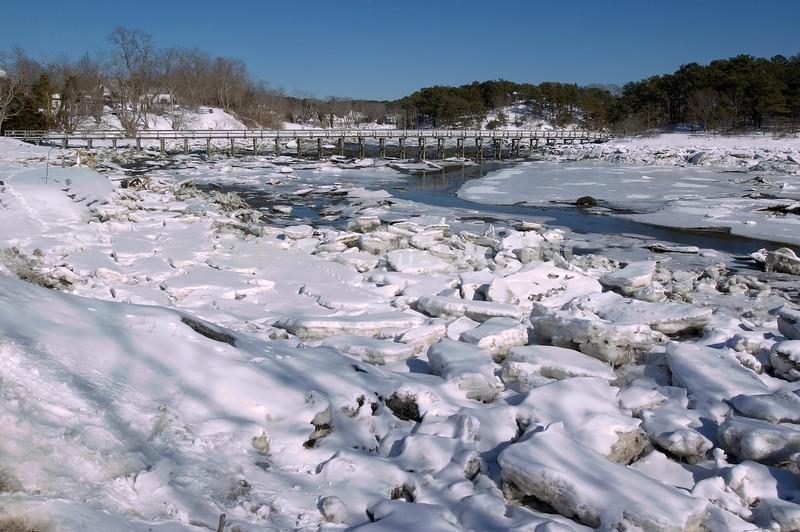 Uncle Tim's Bridge in Wellfeet Center and Ice on the Marsh, Wellfleet, MA on Cape Cod.<br /> (c) Tom Croke/Visual Image, Inc.