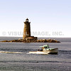 A lobster boat passes Whaleback Light, Kittery ME. (c) Tom Croke/Visual Image Inc.
