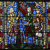 Religion/Historical -  First Parish Church - Church Green, Taunton, MA.<br /> Portion of stained glass window depicting the raising of the Liberty & Union Flag.<br /> (c) Tom Croke/Visual Image, Inc.