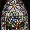 Religion/Historical - First Parish Church, Church  Green, Taunton, MA.<br /> Portion of stained glass window showing the signing of the treaty with King Philip in 1671.<br /> (c) Tom Croke/Visual Image, Inc.