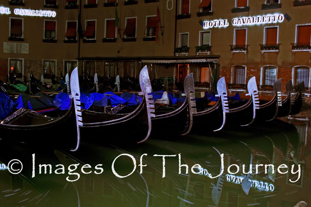 Venice Gondolas after midnight.