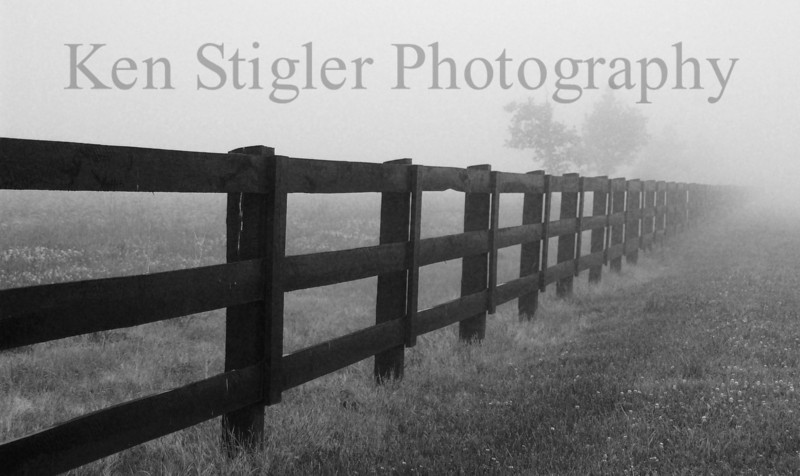 Foggy fence line in Warsaw, Kentucky