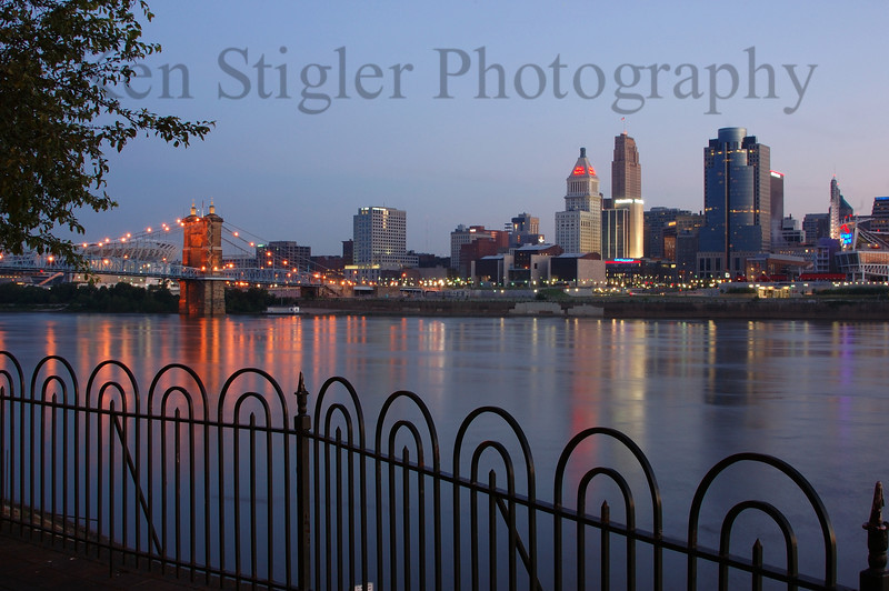 Cincinnati at dawn as seen from Covington