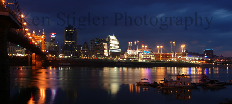 Cincinnati riverfront at dawn - A panoramic vision from two images