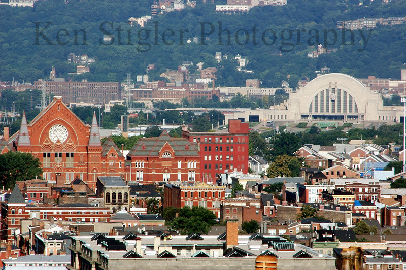 Two Cincinnati landmarks, Music Hall and the Cincinnati Museum Center