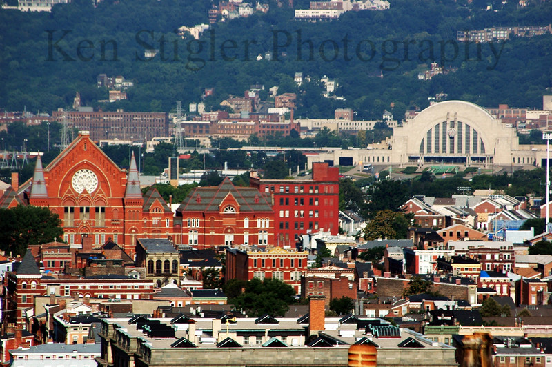 Music Hall and the Cincinnati Museum center as seen from Mt Adams.