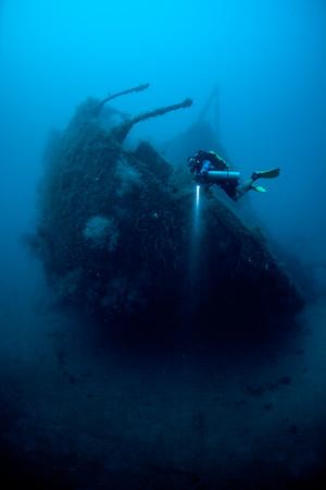 The wreck Bianca C in Grenada. Model Renee Power. Photo Jill Heinerth