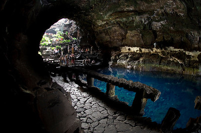 The entry to Jameos del Agua in Lanzarote leaves visitors whispering in quiet reverence for their natural surroundings. Mote Corona Volcano, Lanzarote, Canary Islands. Exploring with Tom Iliffe, Jim Rozzi and Terrence Tysall. Photo: Jill Heinerth