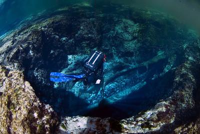 A diver floats down into Devil's Ear Spring. Photo: Jill Heinerth