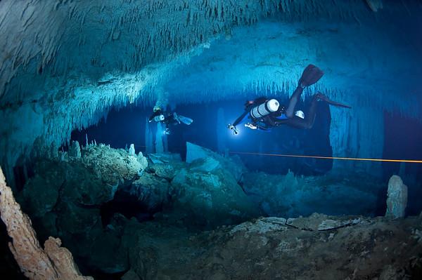 Brian Kakuk and Marc Laukien explore Dan's Cave in Abaco. Photo: Jill Heinerth