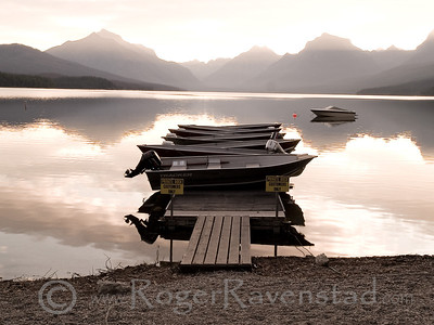 Boats at Lake McDonald Image I.D. #:  M-08-006
