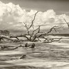 Sweeping Tides, Hunting Island State Park, SC, sepia