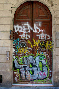 The graffiti on some of the older doors was a sad juxtaposition.  Doors and Windows in Spain, Italy and France.