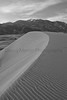 Dunes below the Sangre De Cristo Mountains.  Great Sand Dunes, Colorado.