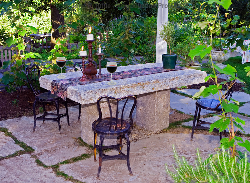 Granite Table with Candel & Wine