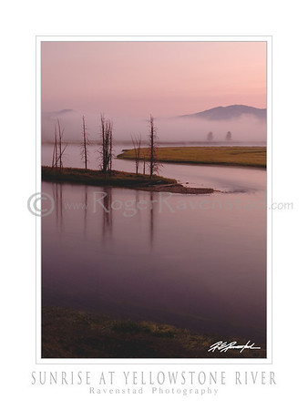 "30X40 Poster: ""SUNRISE AT YELLOWSTONE RIVER"" $95"
